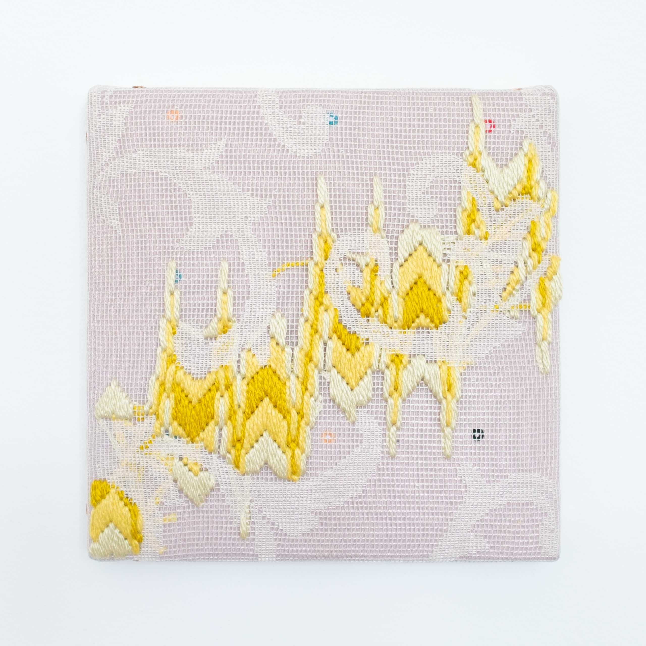 Triple-layer gather-gusset [yellow chevrons], Hand-embroidered silk on lace over fabric, 2020